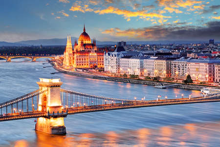 Budapest with chain bridge and parliament