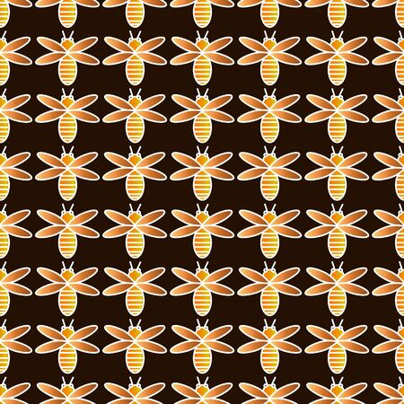 brown pattern: Decorative bees background - brown pattern Illustration