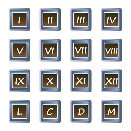 numeros romanos: n�meros romanos botones - conjunto de iconos del vector