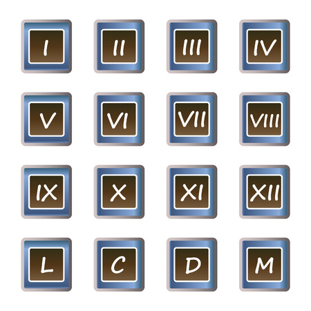 numerals: Roman numerals buttons - set of vector icons