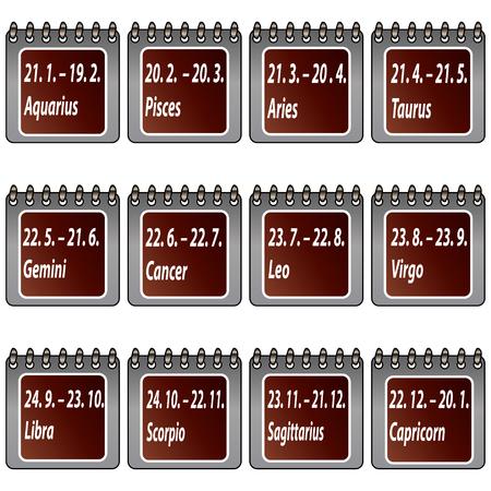 zodiak: Calendar signs zodiac Illustration