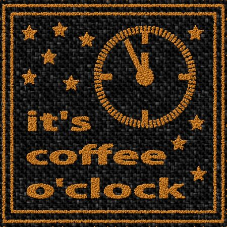 o'clock: Its coffee oclock - coffee beans pattern Stock Photo