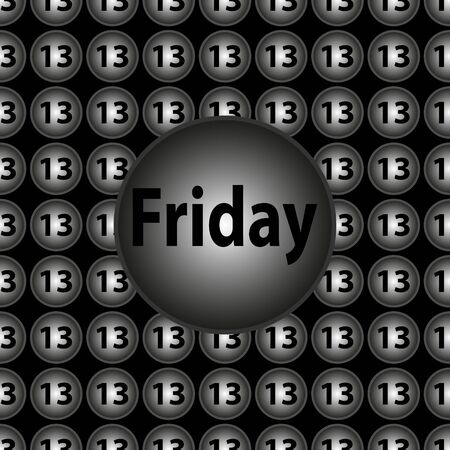 13th: Friday the 13th - decorative vector black and silver circular background Illustration