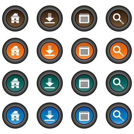 zoom: Collection of 16 isolated multicolor buttons (icons) - home button, download button, notepad button, zoom button Illustration