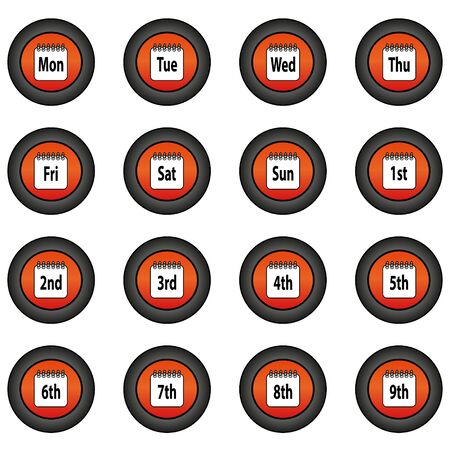Ordinal: Collection of 16 isolated orange buttons (icons) - day of the week, ordinal numbers