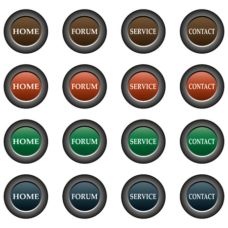 home button: Collection of 16 isolated multicolor buttons (icons) - home button, forum button, service button, contact button