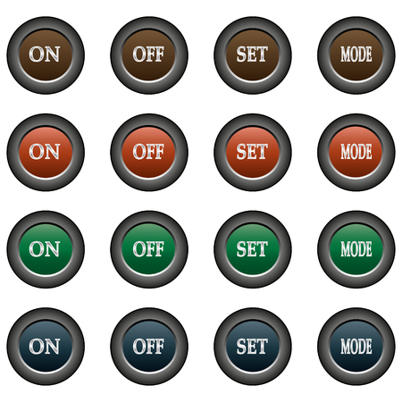 on off button: Collection of 16 isolated multicolor buttons (icons) - ON button, off button, set button, mode button Illustration