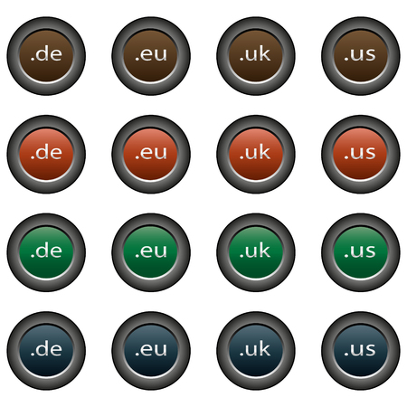 domains: Collection of 16 isolated multicolor buttons (icons) - domains (de button, eu button, button uk, us button)