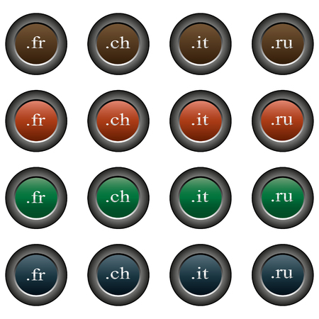 domains: Collection of 16 isolated multicolor buttons (icons) - domains (fr button, ch button, it button, ru button)
