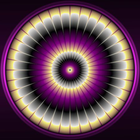 violet flower: Illustration with abstract and modern violet flower - decorative circular pattern Stock Photo