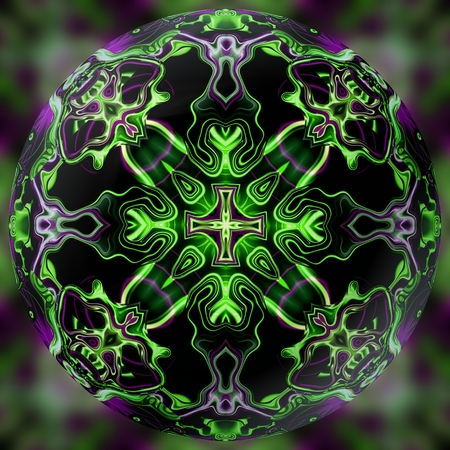 kaleidoscope: Abstract decorative sphere, ball - kaleidoscope pattern
