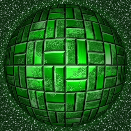 metal sphere: Abstract decorative metal sphere - green pattern Stock Photo