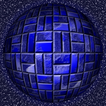 metal sphere: Abstract decorative metal sphere - blue pattern Stock Photo