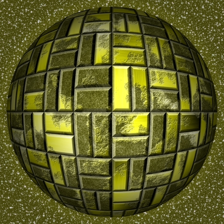 metal sphere: Abstract decorative metal sphere - gold pattern