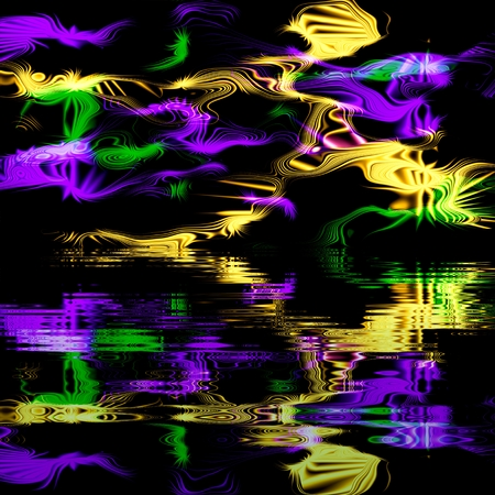 reflection in water: Abstract magical multicolor glow, lightning - reflection in the water