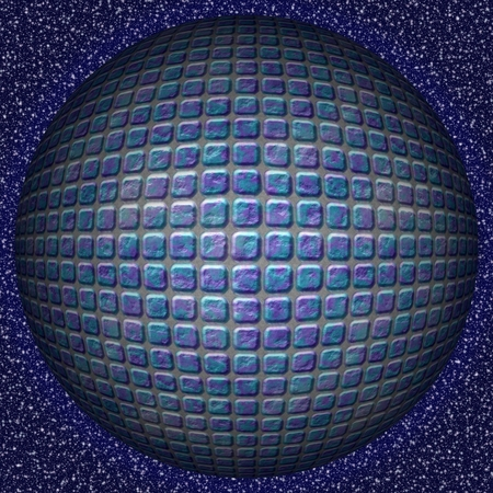 blue sphere: Abstract decorative blue sphere, ball - square pattern Stock Photo