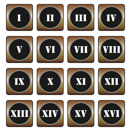 roman numerals: Roman numerals buttons - set of vector icons