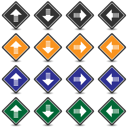 left arrow: Collection of 16 isolated multicolor icons (buttons) on white background with shadows - up arrow, down arrow, right arrow, left arrow