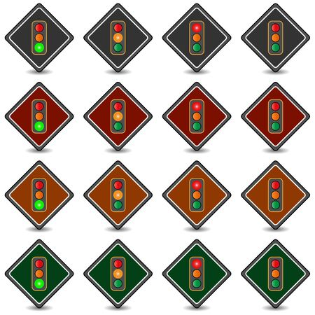 trafic: Collection of 16 isolated multicolor icons (buttons) on white background with shadows - traffic lights Illustration