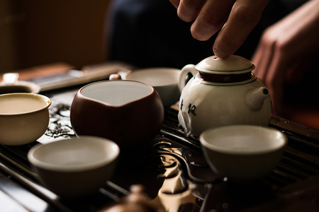 Exquisite Green Tea in Teapot at Traditional Chinese Tea Ceremony. Set of Equipment