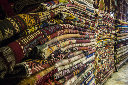 A Pile Of Carpets In Turkish Carpet Shop Stock Photo