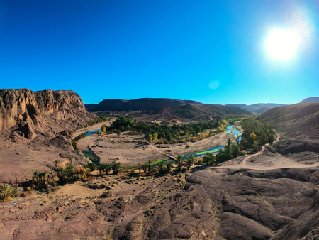Beautiful Desert oasis landscape Panorama in Oasis De Fint near Ourzazate in Morocco, North Africa 스톡 콘텐츠