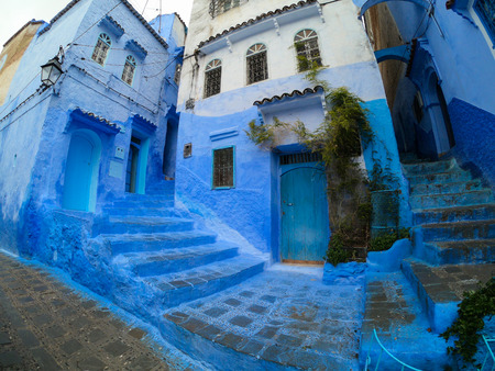 The blue painted streets of Chefchaouen, Morocco