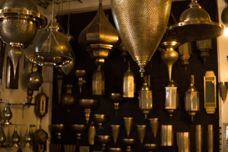 The bronze Lantern masterpieces in Morocco. A pack of beautiful bronze creations showed inside the Fez Medina, Morocco.