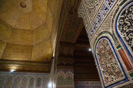 MARRAKESH, MOROCCO - JAN 20: Moroccan architecture traditional arabian design - Rich Riyad Dar Si Said mosaic interior