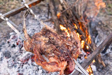 Geflügelzubereitung, Jagdthema. Kochen eines ganzen Fasanenkörpers auf einem Eisenspieß über einem Lagerfeuer mit brennenden Kohlen und heißen Flammen auf dem Boden, Nahaufnahme eines köstlichen knusprigen braunen Vogels