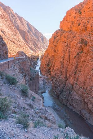 Picturesque Serpentine mountain road in Gorges Dades in high Atlas, Morocco Stok Fotoğraf