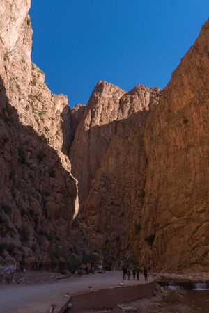 MOROCCO, TINERGHIR - JAN 2019: Todra Gorges, Morocco, Africa. Amazing high Rock cliffs against deep blue sky