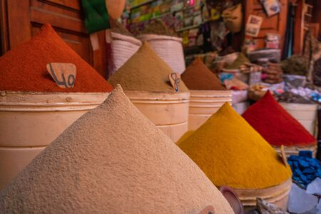 Moroccan Spices for sale in the Marrakech medina at Mellah jewish market Stok Fotoğraf
