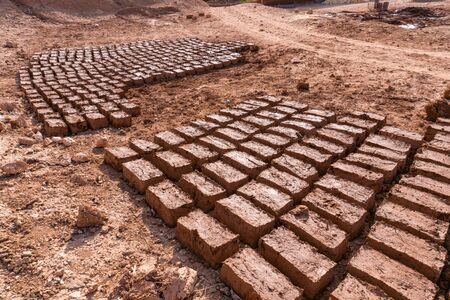Paving stones clay bricks, hand-made exposed to the sun to dry in Morocco Stock Photo