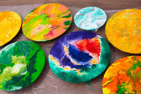 Art therapy finished pictures after session. Bright acrylic paints. Painting on canvas Stok Fotoğraf
