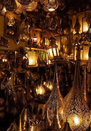Traditional Arabic style metal and glass lanterns in the Souks of Medina in Marrakesh, Morocco