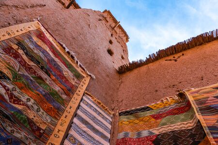 Streets in The fortified town of Ait ben Haddou near Ouarzazate on the edge of the sahara desert in Morocco. Atlas mountains