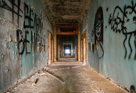 Ukraine, Odessa - September, 2019: Abandoned grunge building. Time passing and nostalgia concept