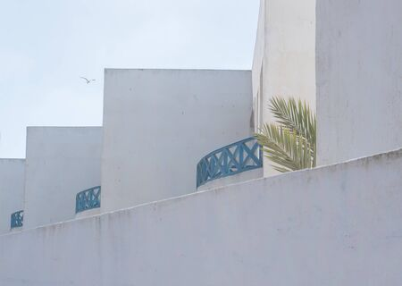 Detail of a white building in Essaouira, Morocco