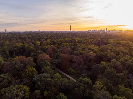 Aerial view of Paris skyline with Eiffel Tower from the Boulogne Forest at rising morning sun