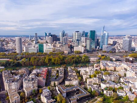 FRANCE, PARIS - OCT 2019: Aerial shot of financial and business district of La Defense, Paris. Skyscrapers skyline aerial