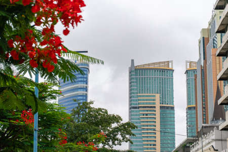 Tall modern buildings and a streets in Dar es Salaam, Tanzania
