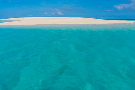 Zanzibar. Empty beach at Snow-white sand bank of Nakupenda Island. Appearing just a few hours in a day