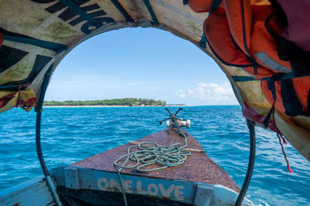 Bow side of Traditional Zanzibar Dhow boat with anchor and Rope