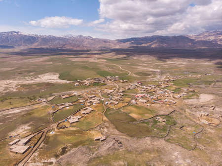 Aerial View on Anatolian Village with Clay roofs at Foothill of Mount Ararat in Eastern Anatolia, Turkey 版權商用圖片