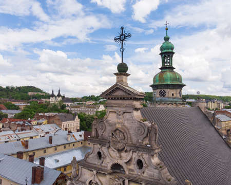 Cathedral Top in Lviv city center aerial view at Summertime midday, Western Ukraine