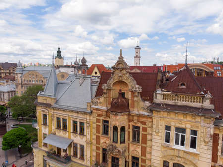 Historical Buildings in Lviv city center aerial view at Summertime midday, Western Ukraine