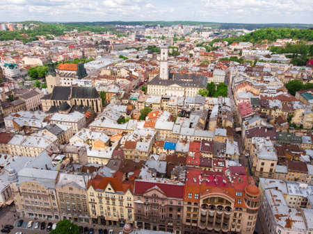 Top View on Lviv city center aerial view at Summertime midday, Western Ukraine