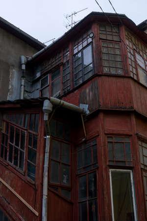Ancient wooden Building in Center of Chernivtsi City in Ukraine