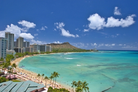oahu: diamond head and waikiki beach, hawaii